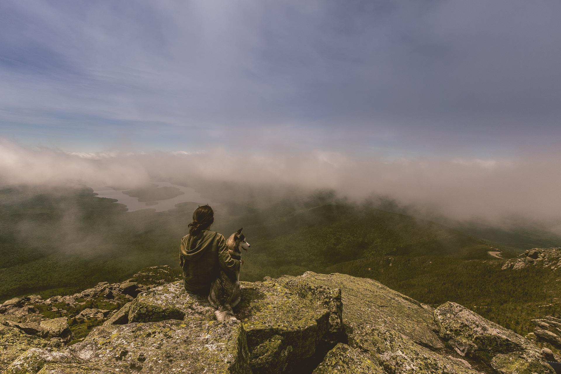 Henkilö ja eläin katselee kalliolla